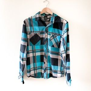 Blue and Black Plaid Button Down Shirt